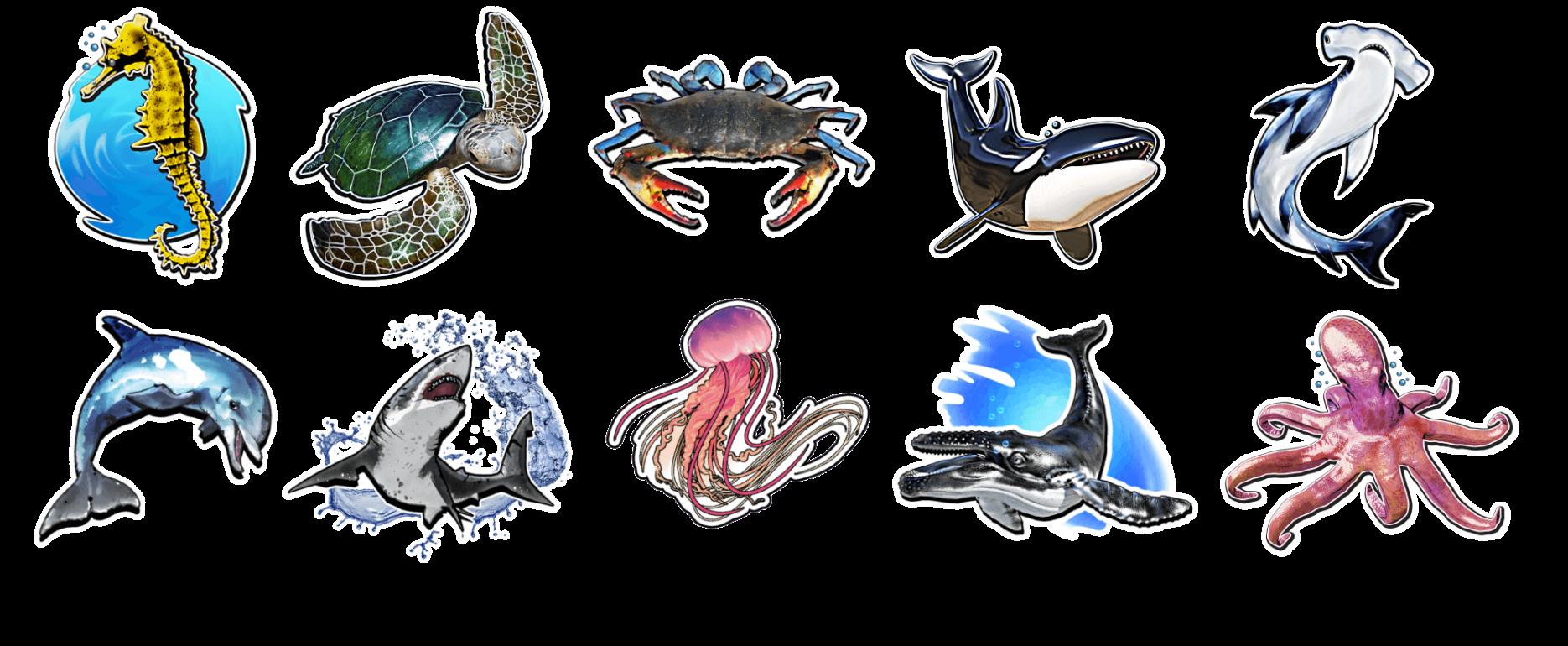 Holotoyz stickers super Sea Creatures
